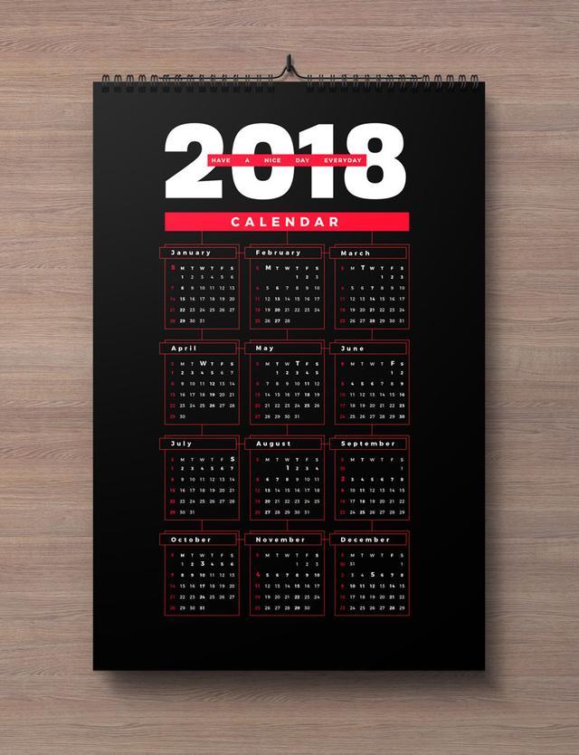 Free 2018 Wall Calendar Printable Design Template In Ai Pdf Eps
