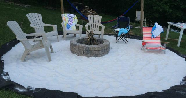 This Amazing DIY Beach Fire Pit With A Movie Screen Will Be The Best Spot For Your Next Night Out