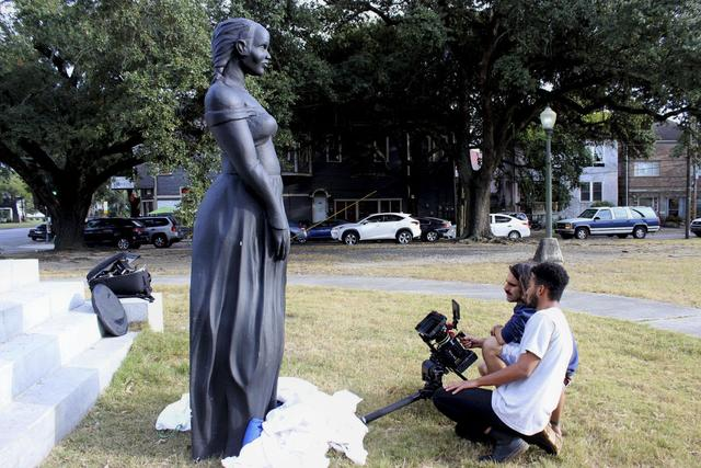 Confederate monument pedestals repurposed for music video