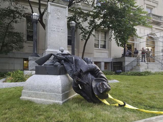 Confederate monument pedestals repurposed for music video