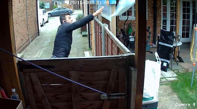 HANDLE WITH AIR Courier caught hurling girl's Xmas present 20ft over gardens on to a roof — where it stayed overnight