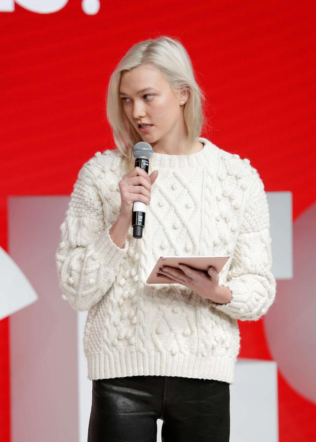 Karlie Kloss on stage during #BoFVOICES in Oxford