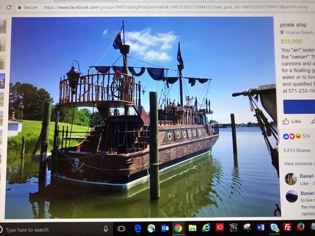 'Pirate' ship with, literally, a skeleton crew for sale on Internet