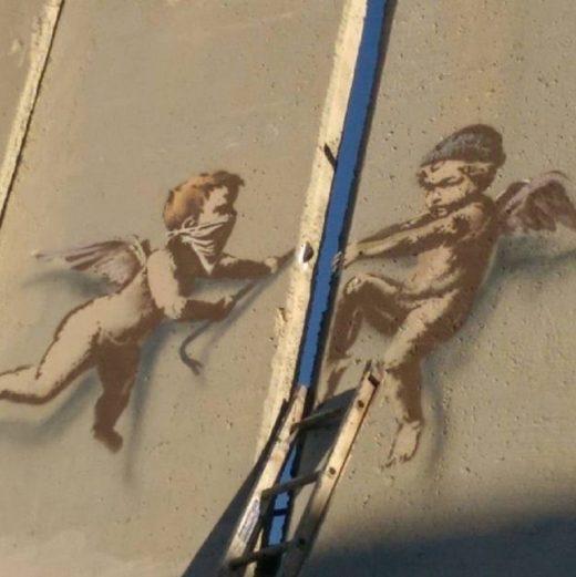 British street artist Banksy's Bethlehem Christmas message with a twist