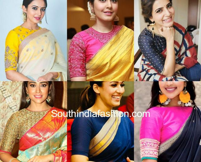 ba27c6c2f5 Simple High Neck Elbow Sleeves Blouse Designs – South India Fashion_ ...