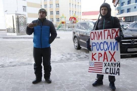 Приезд кандидата в Президенты от КПРФ Павла Грудинина в Уфу пикетировали активисты НОД
