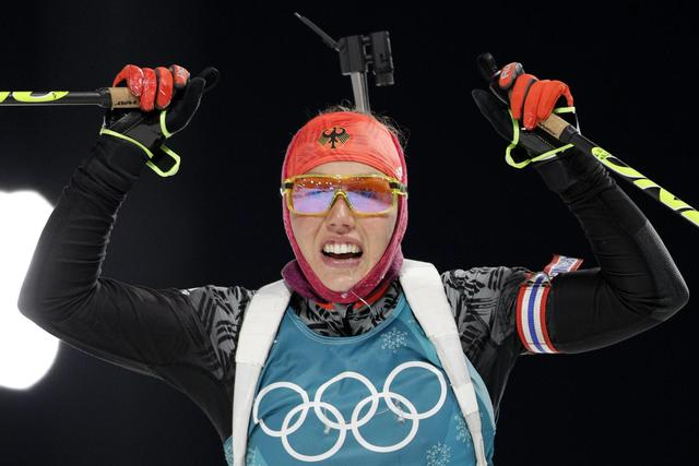 The Latest: Germany's Dahlmeier wins gold in 7.5-km sprint