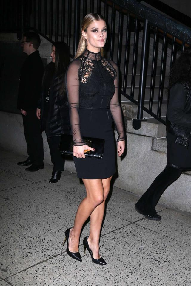 Nina Agdal arrives at Tom Ford Fashion Show 2018