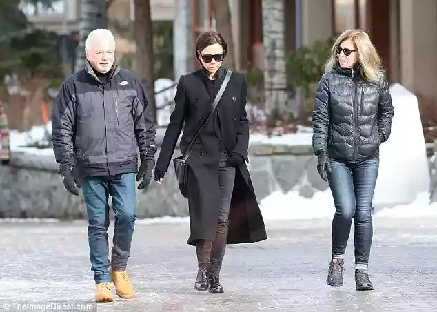 36de5d77707a Victoria Beckham enjoys a low-key stroll with parents in Whistler  ...