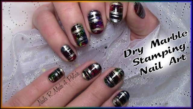 Dry Marble Stamping Nailart For Beginners Colorful Nails Tutorial
