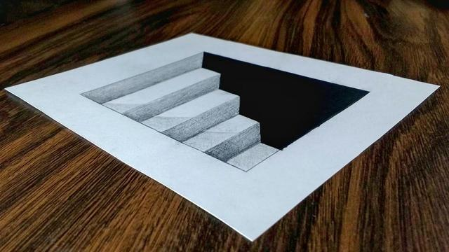 Easy 3d Steps In A Hole Trick Art Drawing On Paper