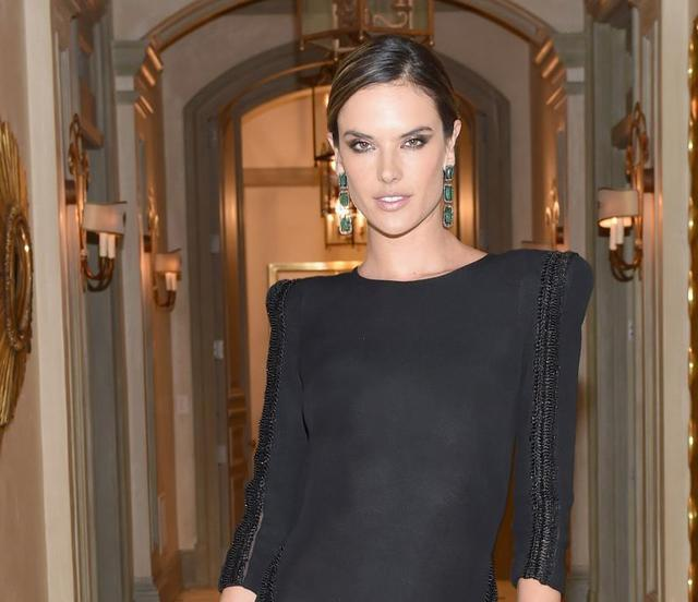 Alessandra Ambrosio Wear in Long Black Dress