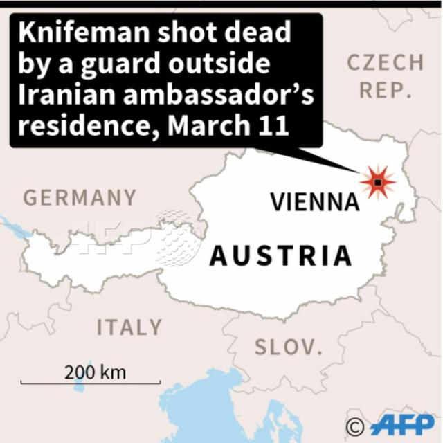 Knifeman killed at Iran ambassador's Vienna home: police