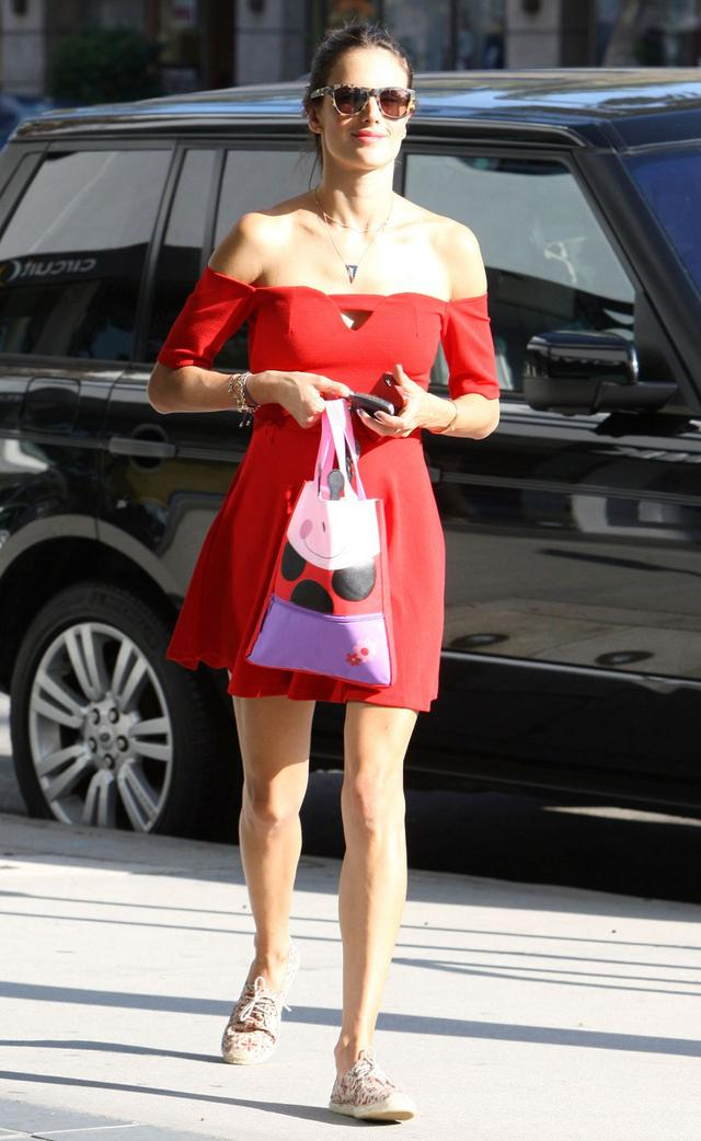 Alessandra Ambrosio in lovely red dress