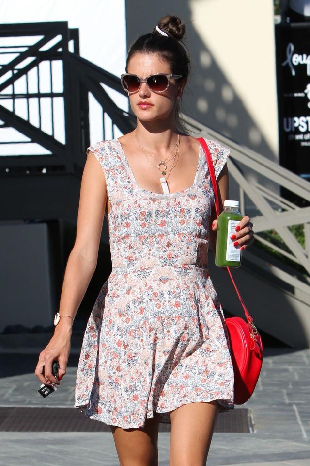Alessandra Ambrosio flowers dress in Mini Dress