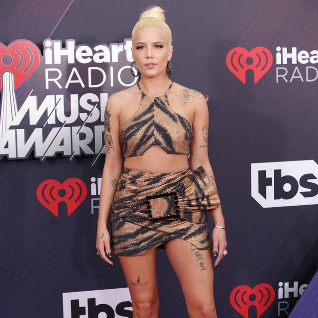 Halsey rocks tiger print dress to 2018 iHeartRadio Music Awards