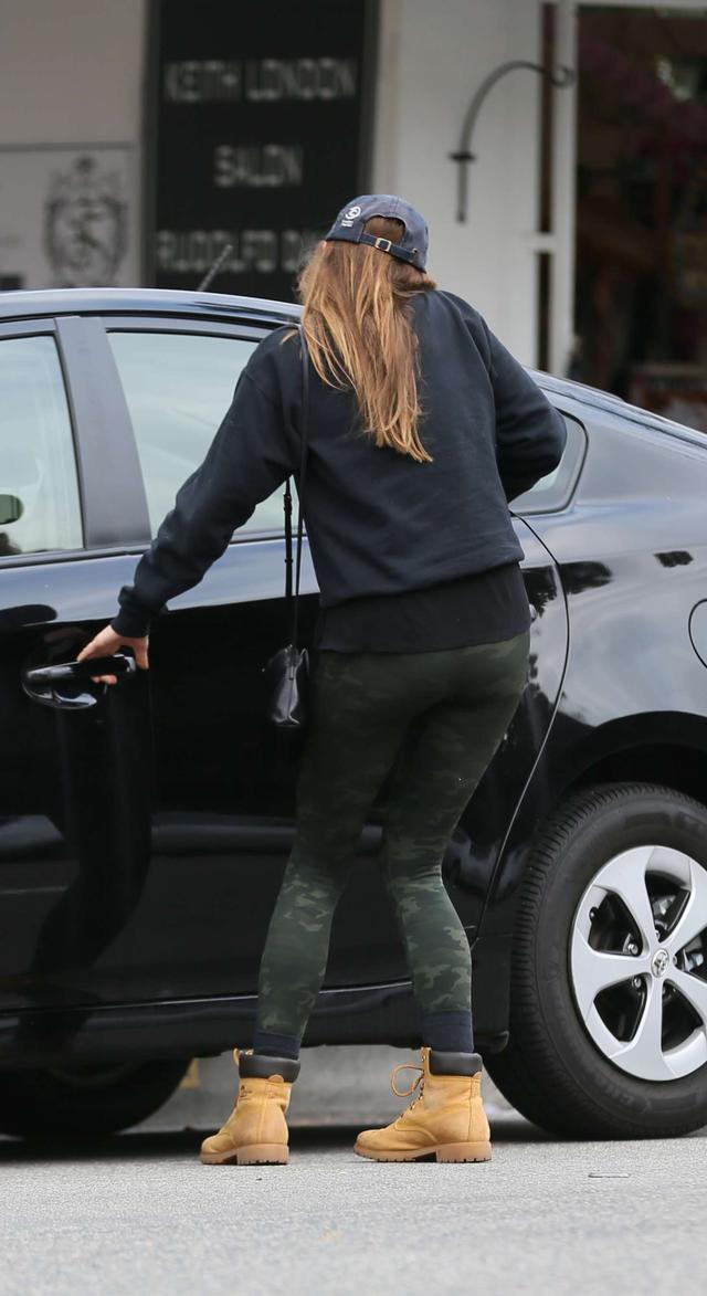 Elizabeth Olsen leaving a restaurant in LA