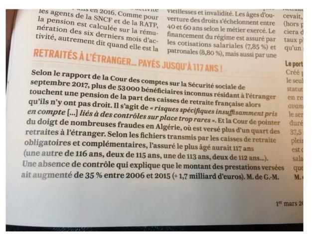 Nombre de faux retraités de 116, 117 ans installés en Algérie perçoivent une pension de retraite Française !