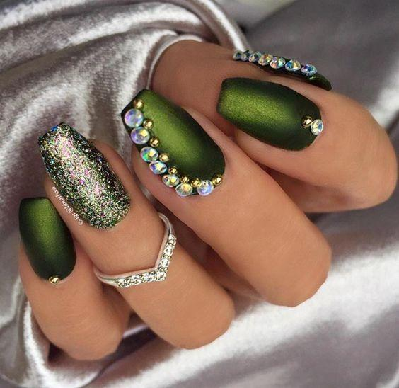 Green Color Gel Nail Polish - the Color of Money, Brings Good Luck ...
