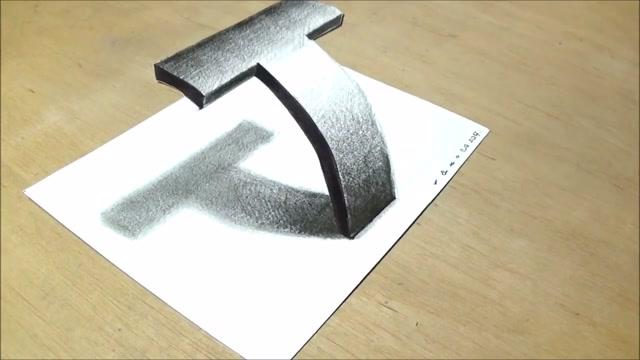Very Easy Drawing 3d Letter T Trick Art With Pencil Vamos