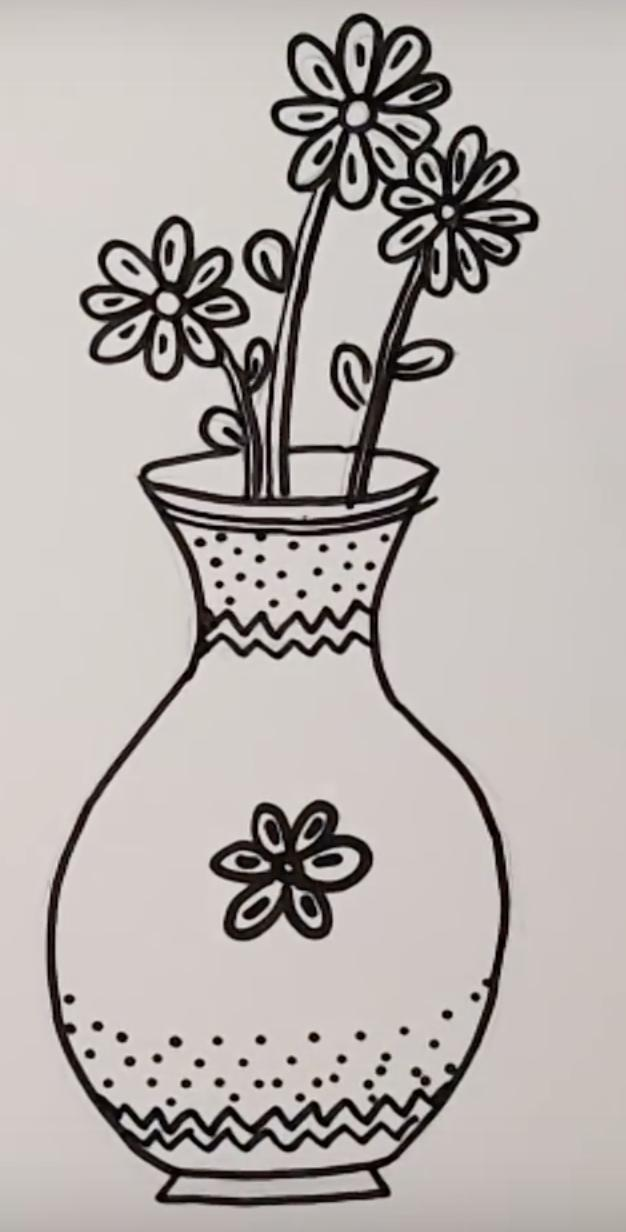 How To Draw A Vase With Flowers