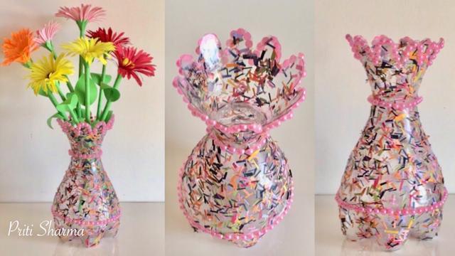 Best Out Of Waste Plastic Bottle Flower Vase Diy Plastic Bottle