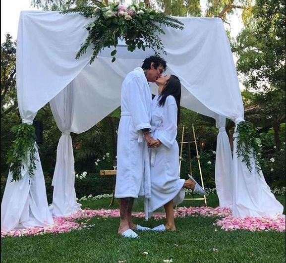 3600d7a29a Actress Brittany Furlan and Her Tommy Lee Get Married Wearing Matching Robes  and Slippers at Beverly