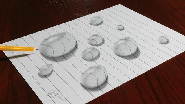 How To Draw Water Drops On Line Paper Trick Art