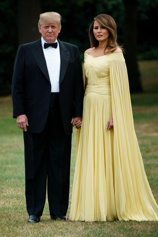 Melania Trump in Princess-perfect couture gown for UK black-tie ...