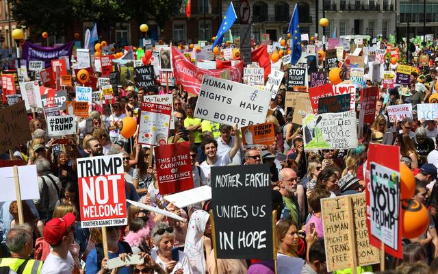 Donald Trump London protest news: Nearly 250,000 protesters march against president's visit