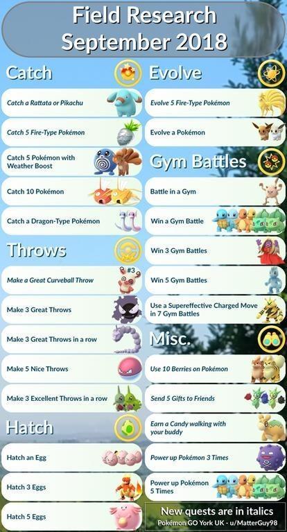 Pokemon Go: Best Field Research for September 2018_国际_蛋蛋赞