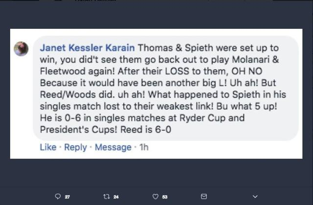 Patrick Reed's Mother-In-Law Went Absolutely Bananas in the Comment Section of a Golf.com Article