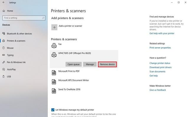 remove installed printer drivers windows 10