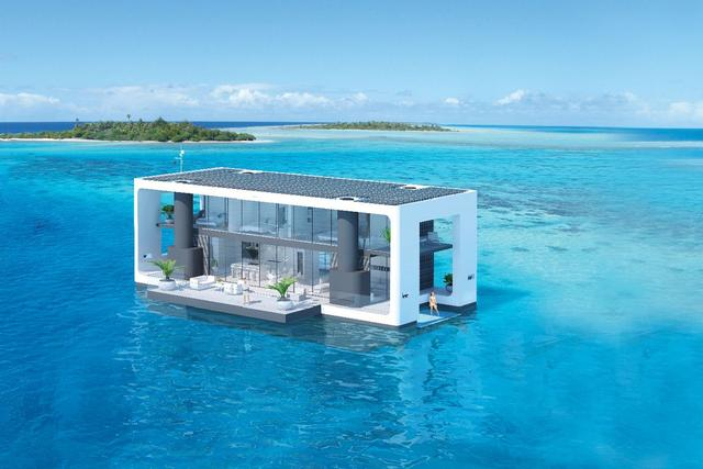Luxury floating home concept elevates during storms