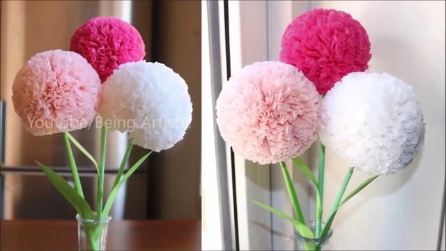 How To Make Round Tissue Paper Flower Diy Paper Craft