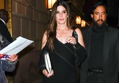 Sandra Bullock's All-Black Outfit Sparkles With Delicate Rainbow Crystal Sandals