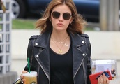 Lucy Hale in Black Leggings, Leaving Starbucks in LA