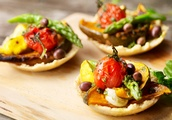Parmesan and Almond Crusted Vegetable Pies With Pesto