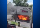 Fire From Burning Vehicle Spreads to Green Tree Bank