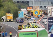 Coach carrying children overturns on M25 injuring 41 people as hospital declares 'major inciden