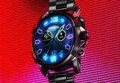 Diesel on Full Guard 2.5 smartwatch has a neon face and gigantic case
