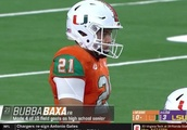 The Internet Reacts to Miami Kicker Amazingly Named Bubba Baxa Who Has Absolutely Terrible High Scho