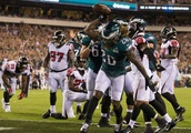 Eagles deny Falcons in final seconds to seal win in sloppy season opener