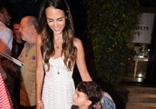 Jordana Brewster From Fast and the Furious Leaves Craigs Restaurant for Sons Birthday in Los Angeles