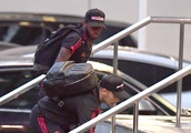 Alexis Sanchez and Fred in fits of laughter as team-mate trips up stairs as Manchester United arrive