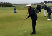 This guy chipping sidesaddle at the Dunhill Links is absolutely mesmerizing
