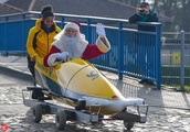 Santa Claus arriving at the Christmas post office