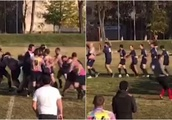 Hilarious Russian rugby players troll fans with 'fight' and ridiculous dance routine (VIDEO)
