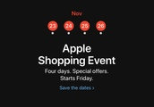 Black Friday will kick off a four-day Apple shopping event