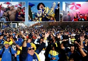 Boca Juniors and River Plate fans party on the streets of Madrid ahead of rearranged Copa Libertador